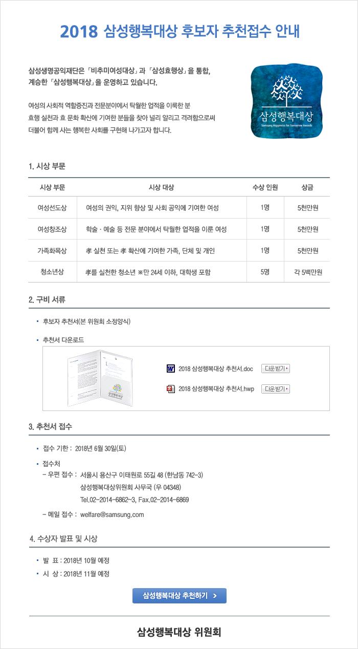 2018 삼성행복대상 후보자 추천접수 안내